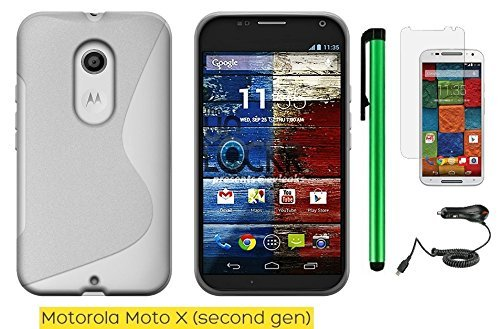 Motorola Moto X (2nd generation) 2014 Edition Phone Case - Premium Pretty S Shape TPU Flexible Design Rubber Skin Cover Case + Car Charger + Screen Protector Film + 1 of New Metal Stylus Touch Screen Pen (WHITE)