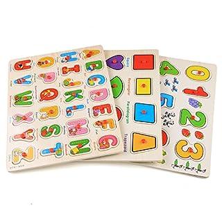 Arshiner 3 x Zahlenpuzzle Alphabetpuzzle Steckpuzzle Holzpuzzle 56tlg Zahlen 0-9 Buchstaben Puzzle A-Z 12 Geometric