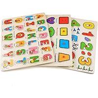 Profun Rompecabezas de Madera de 56 PCS de Alfabeto Número Gráfico Multicolor Puzzle Juguete para Aprendizaje para Niños - Peluches y Puzzles precios baratos