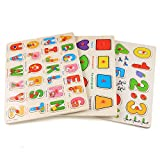 Keepgar Profun 56 PCS Wooden Jigsaw Puzzle 3 Alphabet/Number/Graph Set...