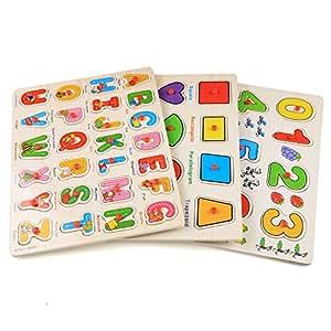 Arshiner 56pcs Wooden Jigsaw Deluxe Classic Peg Puzzle Bundle 3 Alphabet/number/Graph Set Toys