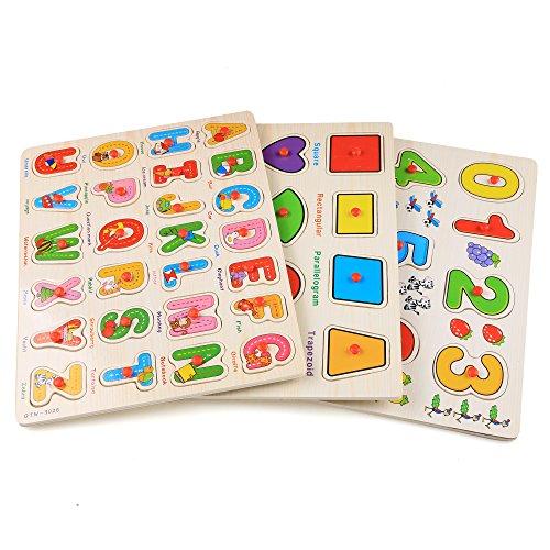 Profun 56 Pcs Holzpuzzle Kinder Holzspielzeug Zahlenpuzzle Lernspielzeug 3 Varianten Alphabet/Zahlen/Formen pädagogisches Puzzle Spielzeug für Kinder