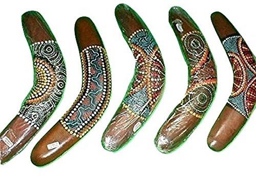 Emerald City Imports Boomerang Aborigine, hergestellt in Bali, 30,5 cm lang, handgefertigt, Größe M, 1 Stück