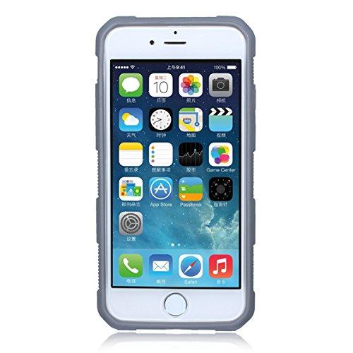 Coque iPhone 7, Forhouse Double Couche Case Doux Ultra Mince Svelte TPU Heavy Duty Dur PC 2 in 1 Texture Brossé Hybride Durable Antidérapant Antichoc Peau Protection de Housse Etui pour iPhone 7 (Noir Gris + Noir