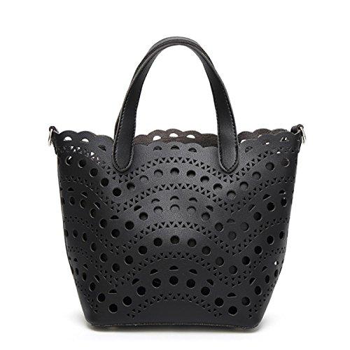 Frühling Und Sommer Mutter Paket Große Tasche Hohle Handtaschen Schulter Messenger Bag Black