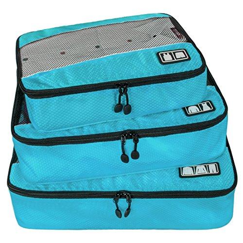 Ecosusi Kleidertaschen 3-tlg. Packtaschen-Set, klein mittler groß (hellblau)