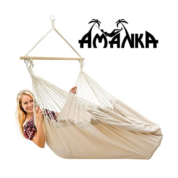 AMANKA Innovative XXL Swing Chair 185x130cm Hanging Seat made of cloth Beige AMANKA SAFER: INNOVATIVE ANTI-SLIP SYSTEM - no risk that the hammock slips off the spreader-bar: the ropes are firmly fixed to the wooden bar and the large canvas is hung with two sturdy metal hooks EXTRA LARGE PIECE OF CLOTH - the strong canvas is made of natural cotton. It is large approx. 185 x 130 cm, so there is plenty of space to sit and even lie down, both alone and in 2 people - suitable for adults and kids SINGLE-SPREADER BAR MADE OF WOOD - the longer the spreader bar, the more comfortable the hammock. Our four-square bar is 115 cm long! It will soon become your favorite spot for reading, dreaming and playing - perfect even as a children's swing 4