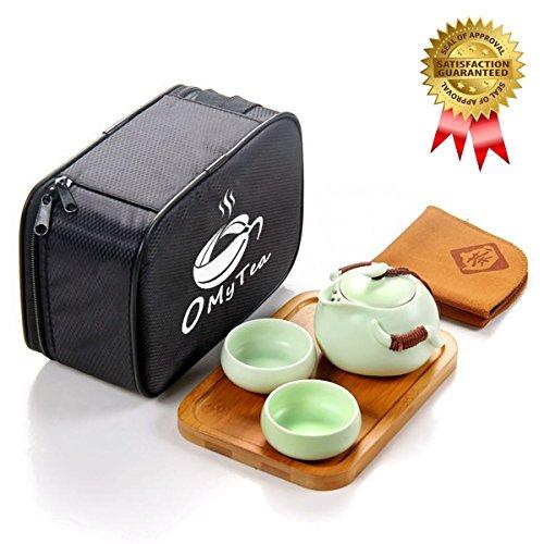 omytea tragbar Travel Tee-Set–100% Handgemachte Chinesische/Japanische Vintage Kungfu Gongfu Tee-Set–Porzellan Teekanne & Teetassen & Bambus Tee Tablett & Tea Matte mit eine tragbare Reisetasche, porzellan, Green-2 cups