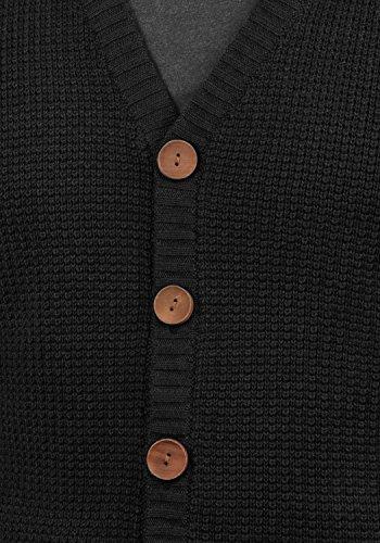 !Solid Tyrell Herren Strickjacke Cardigan Feinstrick Mit V-Ausschnitt und Knopfleiste, Größe:M, Farbe:Black (9000) - 4