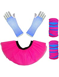 Pink Neon Tutu Skirt with Legwarmers & Fishnet Gloves by Honey B's®