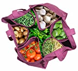 #7: RYAN OVERSEAS Cotton Vegetable Carry /Reusable Bag ,Size (12 x 14.5 (wxl))inch,44 Bottles Size,(rymanshoprack, Brown and Red)