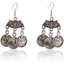 Lureme antiguos borlas moneda de plata de la vendimia pendientes de gota (02004763)