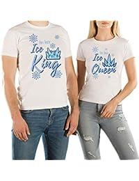VivaMake® Pack 2 Camisetas de Navidad para Mujer y Hombre Originales con Diseño Ice King