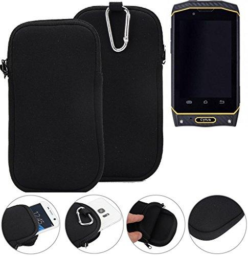 K-S-Trade Neopren Hülle für Cyrus CS 19 Schutzhülle Neoprenhülle Sleeve Handyhülle Schutz Hülle Handy Gürtel Tasche Case Handytasche schwarz
