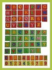 LETRAS Y NÚMEROS. Tarjetas de goma eva con letras y números en relieve. Hecho a mano. Ideal para el aprendizaj