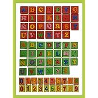 LETRAS Y NÚMEROS. Tarjetas de goma eva con letras y números en relieve. Hecho a mano. Ideal para el aprendizaje de los niños.