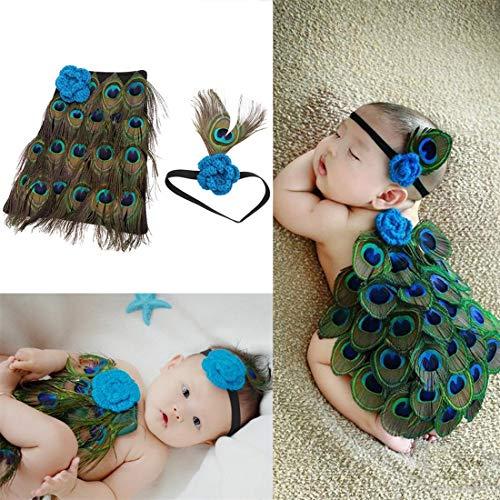 Neugeborenes Baby Pfau Foto Fotografie Prop Kostüm Stirnband Kleidung Set