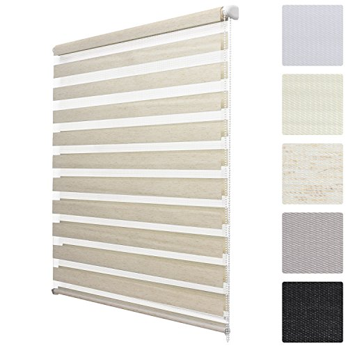 Sol royal tenda a rullo doppio strato per finestre - soldecor dl2 - 100x150 - installazione senza trapano - effetto lino