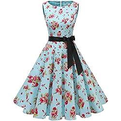 Gardenwed Robe Vintage Femme Années 40 50 60 Pin up Robe de Soirée Cocktail Cérémonie Style Audrey Hepburn Rockabilly Swing Col Rond sans Manche Blue Little Flower M