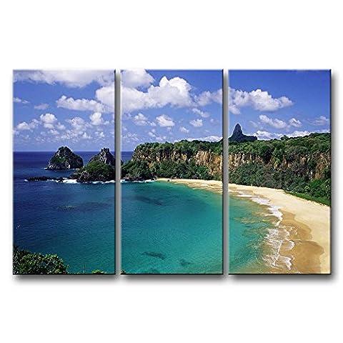 3Panel Blau Art Wand Bild Fernando de Noronha Archipel Small Beach Mountain Bilder Prints auf Leinwand Seascape der Decor Öl für Home Moderne Dekoration für Büro Wände