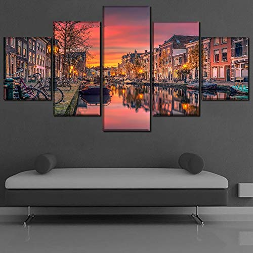 mmwin Modern Canvas Decor Work HD Impreso 5 Piezas Paisaje Cielo Países Bajos Canal Paintings Wall Art Pictures Modular Poster