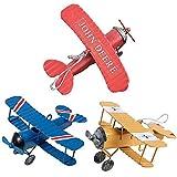 KOBWA Vintage Metall Flugzeugmodell Mini Metall Doppeldecker Flugzeug Dekorative, Retro Eisen Handwerk Modelle für Wohnkultur, Christbaumkugel, Desktop-Dekoration, Foto Requisiten (3 Pack)