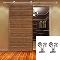 hahaemall decorativi per stanza per porta scorrevole rullo singolo in acciaio inox Barn legno Hardware (Singolo Barndoor)