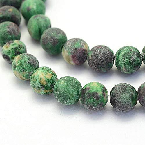 Perlin Edelstein Perlen zum auffädeln Matt Frosted Grün Achat Stein 8mm 30Stk Kugel Edelsteine Halbedelstein Schmuckperlen Schmuckstein Crazy Agate Beads G419 x2 -