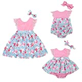 ZXCVBN Summer Cute Sister Match Floral Lace Baby Girl Bodysuit Skirted Romper Toddler Kids D...