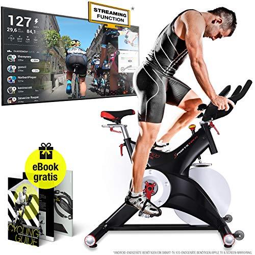 Sportstech Profi Indoor Cycle SX500 - Deutsche Qualitätsmarke -Video Events & Multiplayer APP, 25KG Schwungrad, Pulsgurt kompatibel Speedbike Studioqualität -SPD Klicksystem -bis 150KG, inkl. eBook