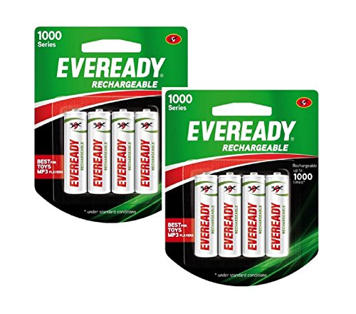 Eveready Rechargeable AA Battery, 08 Pieces Pack, White (1000 Series, BP4 700 NIMH)