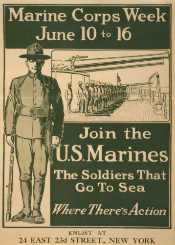 World of Art Kunstdruck/Poster, Vintage-Stil, US-Propagandaposter zum 1.Weltkrieg 1914–18, englischsprachige Aufschrift Marine Corps Week, 250g/m², glänzend, A3, Reproduktion