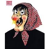 NET TOYS Hexenmaske mit leuchtender Nase Hexe Maske mit Kopftuch und Haaren Hexen Faschingsmaske Alte Böse Frau Gummimaske Horrormaske Walpurgisnacht Halloween Kostüm Zubehör