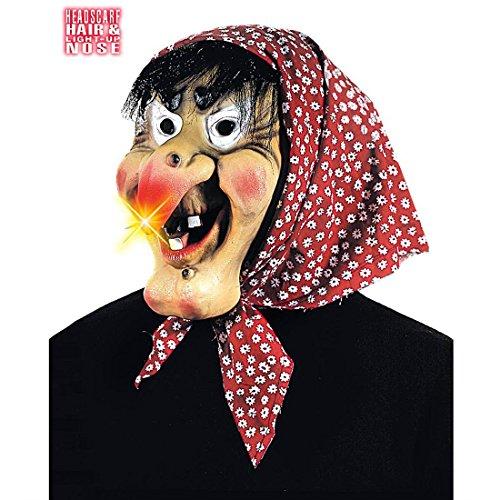 Hexenmaske mit leuchtender Nase Hexe Maske mit Kopftuch und Haaren Hexen Faschingsmaske Alte Böse Frau Gummimaske Horrormaske Walpurgisnacht Halloween Kostüm Zubehör (Frau Hexe Halloween Kostüm)