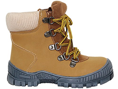 Foster Footwear Boys Kids Infant Tan Faux Leather Suede Hiker Lace Up Zip Mountain Chukka Casual Snow Boots Size 10-3 (UK 12 Kids/EU 30, Tan)
