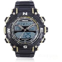 OHSEN YI-AD1315-5 Quartz Men Wrist Watch Round Fashion Silicone Dual Display Gold