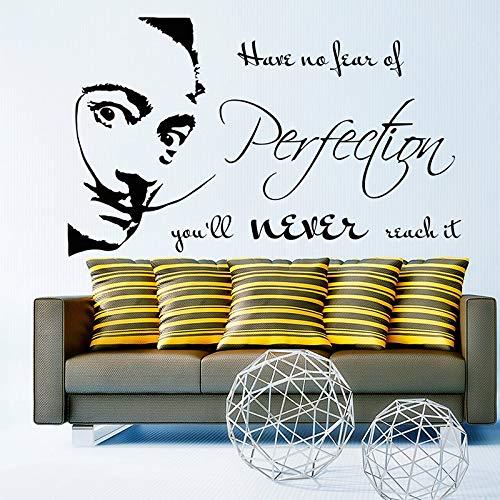 Salvador Dali Zitat Vinyl Wall Decal haben keine Angst vor Perfektion Sie werden es nie erreichen Aufkleber Wohnzimmer Schlafzimmer Dekor 84 * 140cm (Journal Angst)