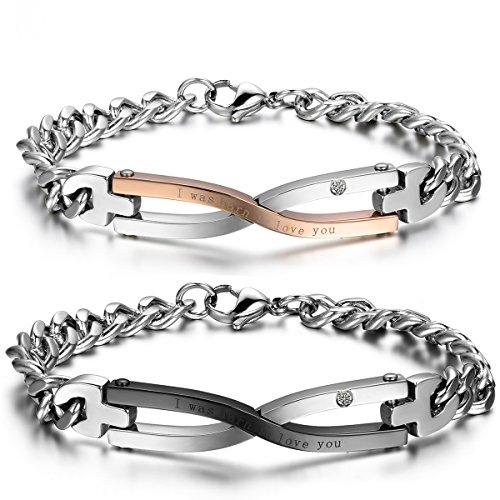 Jewelrywe gioielli 2pcs bracciale da uomo donna, amore amanti san valentino regali coppia per lui & lei, strass acciaio inossidabile, oro nero argento (con borsa regalo)