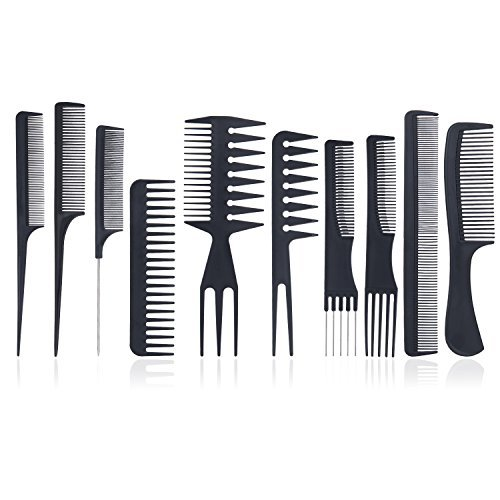 Set di pettini – meersee professionale styling pettine set, salone di taglio dei capelli pettine nero, stylist parrucchiere barbiere pettine set