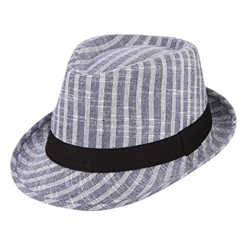 Thinkin Vintage Plaid Baumwolle Fedoras Für Männer Breiter Krempe Kirche Hüte Bowler Hat Männliche Jazz Caps Panama Chapeau Marineblau 58 cm -
