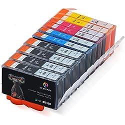 Cartouches d'encre pour HP 364 XL Pack de 10 Cartouches 4 Noir 6 Couleur - Compatibles avec Photosmart 5510, 5520, 6520, 7510, 6510