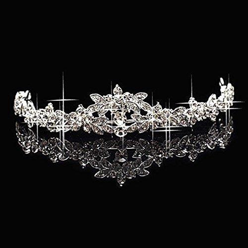 Leoboone 1pc Elegante luxuriöse Hochzeit Braut Krone Headwear Strass Tiaras Haarnadel Hochzeit Haarschmuck Braut Schmuck - Kronen Elegante