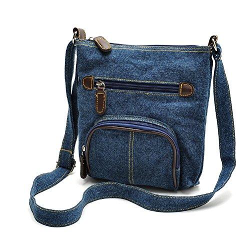 Imagen de uraqt bolsos de vaqueros bolsos  de tela bandolera denim para mujer, azul