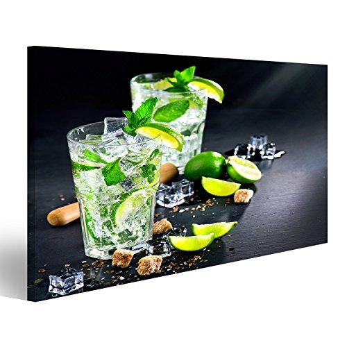 islandburner Bild Bilder auf Leinwand Mojito-Cocktail auf Einem Tisch. Sommercocktail mit Rum, Kalk, Minze, Eiswürfeln und braunem Zucker Wandbild, Poster, Leinwandbild KVQ -