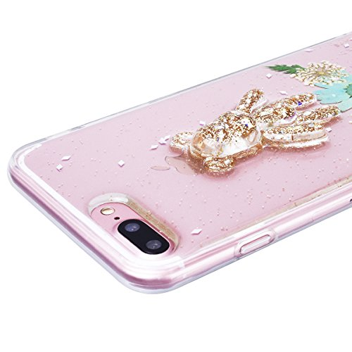 WE LOVE CASE iPhone 7 Plus Cover Fiore Vero e Orso Trasparente Glitter iPhone 7 Plus 5,5 Custodia Verde Case Silicone Soft Flessibile Elegant Belle Protettiva , Antiurto Ultraslim Bumper , TPU Gel Go green