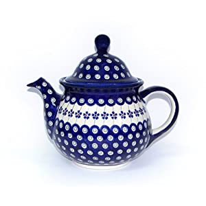Blue Rose Polish Pottery Flowering Peacock Large Teapot