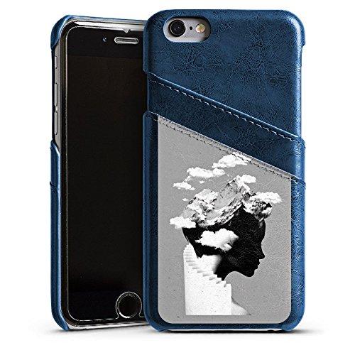 Apple iPhone X Silikon Hülle Case Schutzhülle Silhouette Kopf Wolken Leder Case Navyblau
