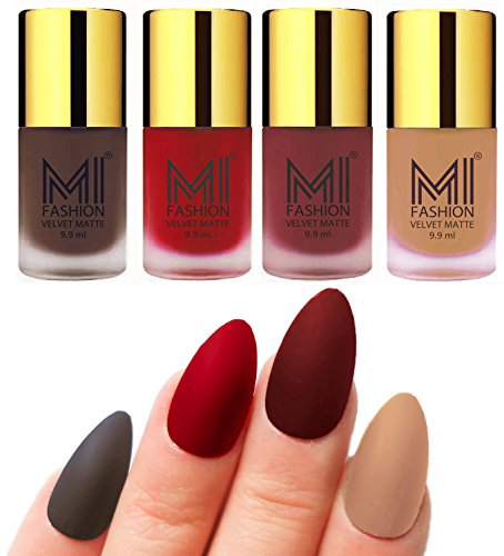 Matte Nail Polish Shades by MI Fashion®|Coffee Matte Nail Polish|Tomato Red Matte Nail Polish|Maroon Matte Nail Polish|Nude Matte Nail Polish Combo of 4 Pcs|9.9ml