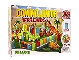 Goliath 81018 - Domino Junior Dino Friends, Domino-Set für Ihnen eigenen Domino Day, Aufregende Dino Abenteuer mit extragroßen Dominosteinen, Aufstellhilfe und viel Zubehör, ab 2 Jahren