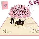 AOBETAK 3D Pop Up Hochzeitskarte mit Umschlag, Glückwunschkarte, Grußkarte für Glückwunsch, Weihnachten, Geburtstag, Jubiläum, Valentinstag, Einladungskarten zur Hochzeit